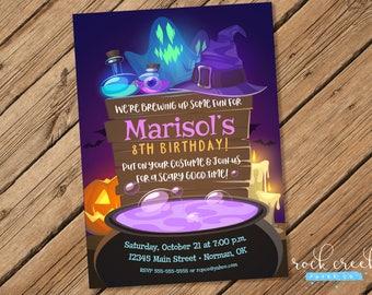 Bubbling Cauldron Invitation, Halloween Birthday invitation, Halloween Costume Party, Printable  Birthday Party Invitation