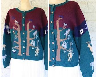 Barn Yard Animals Sweater / Teachers Cardigan Sweater / Noahs Ark Animals Sweater / Ugly Xmas Sweater / Vintage Wool Sweater M/L
