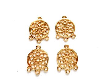 4 Gold Plated Lotus Flower Connectors - 4-FL-14
