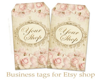 Business tags Vintage roses tags Printable tags Vintage tags Personalized pre-made tags on Digital Collage Sheet - PINK ROSE TAGS