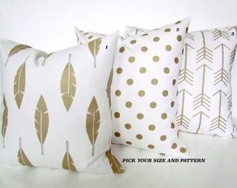GOLD METALLIC PILLOWS Gold Throw Pillows Gold Pillow Cover Athena Gold Polka Dot Pillows Christmas Gold Pillow Covers Gold Feather 16 18 20