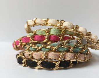 Stackable bracelet, Chain bracelet, Boho bracelet, Festival bracelet, Friendship bracelet, womens bracelet, chain and leather, Suede, Chanel