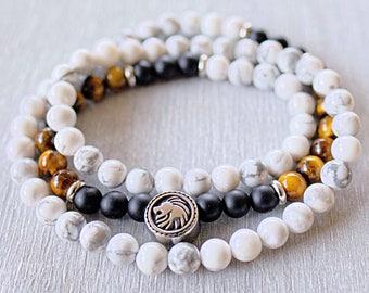 Triple wrap bracelet Mens beaded bracelet Onyx, Howlite, Tiger Eye gemstone bracelet men Meditation beads Mala bracelet Lion bracelet men