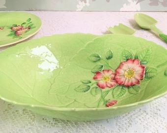 """Large Oval Leaf Shaped  Serving Bowl """"Wild Rose"""" Carlton Ware, Australian Design, L"""
