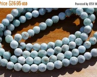 "SAVE 20% SAT & SUN 1 16"" Beautiful Genuine Natural Larimar 5-5.5mm Smooth Rounds Beads (67 beads)"