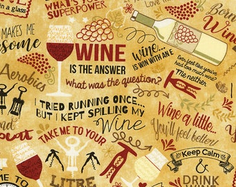 Wine fabric -  words, phrases, images and puns related to wine - Gail Cadden for Timeless Treasures - by the YARD