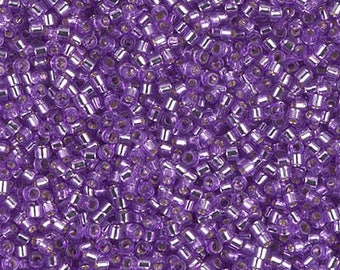 11/0 Miyuki Delica Dyed Silver Lined Lilac Seed Beads DB1343, Silver Lined Lilac Delica 1343, 6 Grams, Delica DB-1343