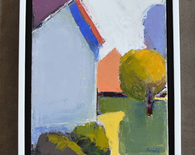 Abstract houses painting, Colorful geometric, Modern wall decor, Original mixed media, Framed painting, Palette knife, Garima Parakh