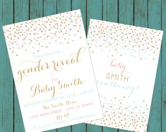 ON SALE! Gender Reveal Invitation, Confetti Gender Reveal Party Invitation, Gender Reveal Invite, gender reveal, baby reveal