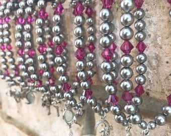 Wedding Cake Pull Stretchy Bracelets with Swarovski Pearls and Crystals