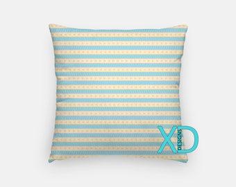 Boho Stripe Pillow, Triangle Pillow Cover, Pastel Pillow Case, Blue, Pink Pillow, Artistic Design, Home Decor, Decorative Pillow Case, Sham