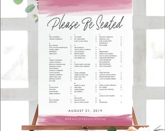 Watercolor Seating Chart Poster, Seating Chart Sign, Custom Seating Chart, Wedding Seating Chart, Art Deco Wedding, Watercolor Wash, 18015