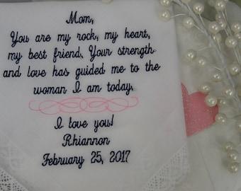 Customized Wedding Handkerchief - Personalized Wedding Handkerchief - Mother of the Bride Wedding Gift, Personalized Wedding Gift