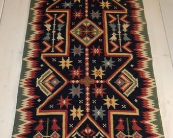 Swedish hand woven  wall hanging/ 1940 s  / old motif / Sweden / big / beautiful