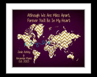 Long distance friendship gift friends forever personalized best friend distance print, gift for friends, going away gift, best friends map