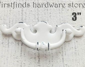 Drawer Pull Shabby Chic White Handle Angel Wings Furniture Hardware Vintage Chippendale Swing Cabinet Kitchen Long 3inch ITEM DETAILS BELOW