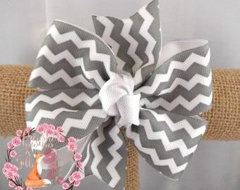 Gray White Chevron Hair Bow