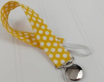 Pacifier Clip / Leash - Yellow Large Dots