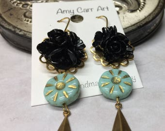 Black Gold and Turquoise Dangle Earrings