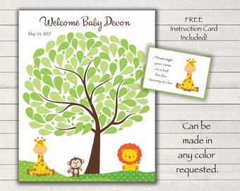 Baby Shower GuestBook -16x20 Sign-In Tree-Jungle Animals Baby Shower Guestbook Alternative -100 leaves-READ DESCRIPTION -Giraffe-Monkey-Lion