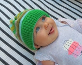 green stripes baby hat, chunky knit child hat, Gift for baby, Fall winter toddler hat, Hand knitted boy hat, Hat for babies, cute baby hat