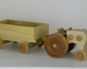 4 cylinder wooden tractor and box trailer, no nails, screws staples, Last for generations,  Made in USA, FREE SHIPPING, will ship 1-2 days