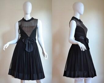 "1950s Black Silk Chiffon & Satin Perfectly Elegant Little Black Dress Bust 34/35"""