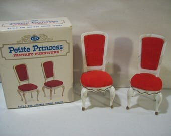 Vintage Ideal Petite Princess Fantasy Dollhouse Furniture Hostess Dining Chairs, Red Japan 1964