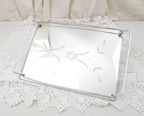 Vintage Mid Century 1960s / 1950s Glass Mirrored Tray with Metal Handles and Engraved Flower Pattern, Retro Mirrored Platter Retro Decor
