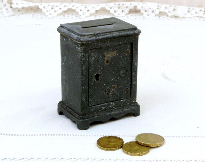 "Antique French Replica Cast Metal Cash Safe "" Coffre Fort"" Coin Bank / Still Bank/ Piggy Bank, Money Box from France, Collectible Decor"