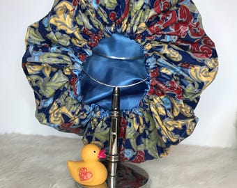 Satin Lined Shower Cap - Blue Rain