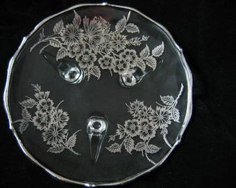 """Vtg. Silver City Glass Footed Bon Bon Candy Dish Plate, 3 Footed Sterling Silver Overlay, """"Springtime"""" Mad Men"""