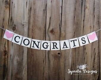 Congrats banner with hearts - graduation banner - congratulations, name - high school, college, university convocation banner - IATY126