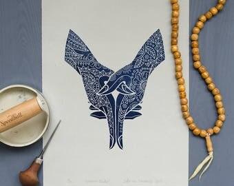 Linocut print: Ksepana Mudra