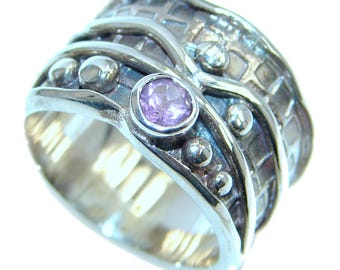 Amethyst Sterling Silver Ring - weight 9.10g - Size 8 3 4 - dim 5 8 inch wide - code 15-mar-17-72