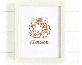 Clemson tigers Printable, Clemson Football print, Clemson Print, Clemson poster