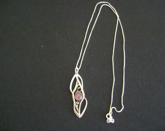 Vintage Sterling Silver February Amethyst Pendant and Necklace