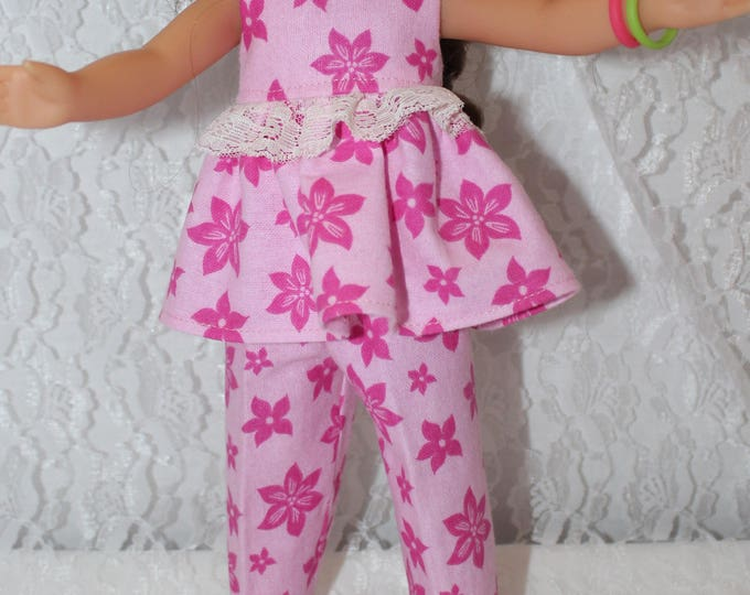 Ready for a Slumber Party, Pink Flowers, Top and Bottoms Pajama's,  Handmade to fit the wellie wisher and Heart to Heart doll Free Shipping