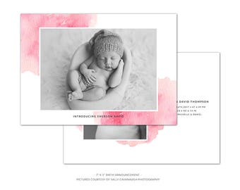 BA4 :. Birth Announcement template | Pink Watercolor