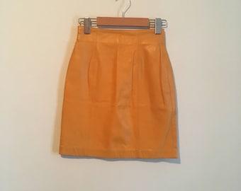 90s mustard yellow mini skirt, high rise leather miniskirt, high waisted, xs, size 2 - vintage -