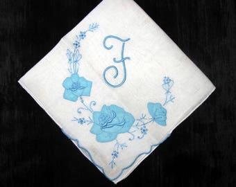 Wedding Handkerchief for Bride, Blue Initial R, B, E, F or N on White Hankie