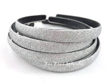 Glitter headband - Silver headband - Thick DIY headband - Hard Headband - DIY Headband supplies