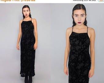 35off Vtg 90s Black  Burnout Velvet Vamp Goth Mermaid Maxi Dress S