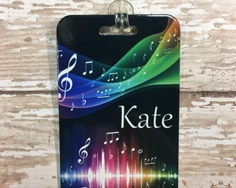 """Personalized Band Music Note Luggage Tag - Aluminum 2"""" x 3.5"""""""