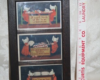 """Wonderful Antique 1906 Set of Three Susie Sunbonnet Postcards!  Ullman Manufacturing!  """"Good Book"""" """"Star Spangled Banner"""" """"Now I Lay Me"""""""