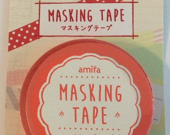 "SALE  Skinny Washi Tape ""Polka Dots"" in Red and White by Amifa of Japan 7.5mm x 8 meter roll."