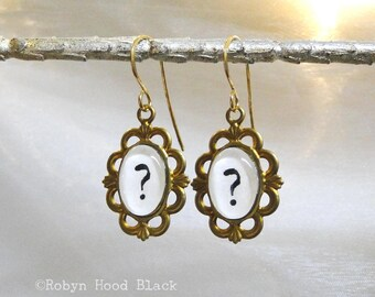 Question Mark Earrings Hand Stamped Vintage Letterpress Gothic Font in Vintage Brass Settings