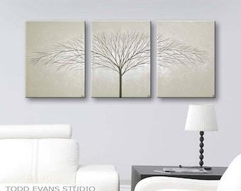 Tree of Life Wall Art Minimalist Painting Gray Wall Decor Canvas Art Gray Art Trees Home Decor Wall Hangings Original Painting ToddEvansArt