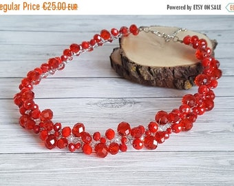 ON SALE Red Crystals Necklace,Crystal Statement Necklace,Red Wire Crochet Necklace,Bib Necklace,Crystals Statement Necklace handmade by CySh