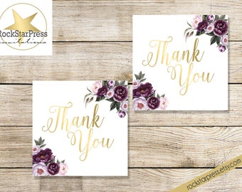 Purple Bridal Shower Gift Tags - Floral Shower Invite Purple, Plum, Gold Garden Brunch Shower, Digital File, Download _ 1308